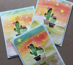 Lawn Fawns Stuck on You stamp set and water color background.