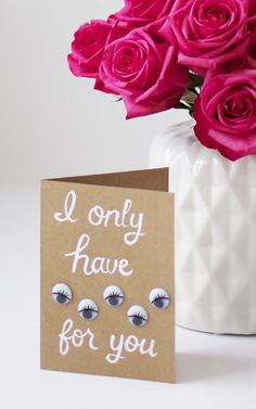 "#DIY ""I Only Have Eyes For You"" Valentine's Day Card"
