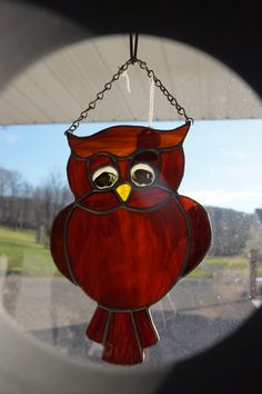 Stained Glass Owl Suncatcher by StainedGlassbyBetty on Etsy