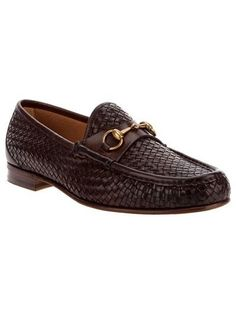 Gucci brown woven leather loafer-  Can u say NASTY?!?  www.farfetch.com