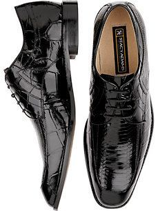 Stacy Adams Aligator Pattern Black Leather Lace-Up Shoes