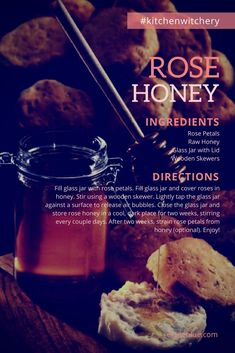 Rose Honey: A Rose Petal-Infused Honey Recipe — Kitchen Witchery Honey Recipes, Tea Recipes, Cooking Recipes, Spelt Recipes, Beltane, Yule, Cough Remedies For Adults, Wicca Recipes, Kitchen Magic