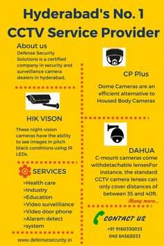 We offer an extensive variety of CCTV Camera Systems which are fundamentally utilized for security surveillance, distant observation and night vision security camera.  Our products are IP Camera, CP Plus, HIK Vision and Dahua which are totally international Standards which are maintained with high quality with the support of well knowledged and trained Team members. For more details visit us at : www.defensesecurity.in