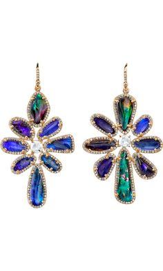 Irene Neuwirth Boulder Opal & Rose Cut Diamond Earrings