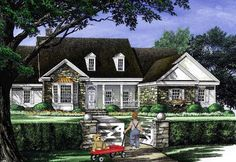 House Plan 86314 | Cottage Country Farmhouse Traditional Plan with 2818 Sq. Ft., 4 Bedrooms, 3 Bathrooms, 2 Car Garage