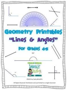 Geometry Printables: Lines and Angles: Lots of practice using a protractor!