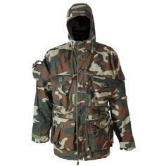 We have the ultimate Woodland Camo Hunting Parka. Comes with a detachable zipped in fleece liner. This parka has reinforced elbows/forearms. The Front is closed up with a zipper, 4 buttons, and is also secured with a couple of Velcro patches. You can keep the cold wind out by cinching up the cord around the waist and the cord around the hood. Shell is made from 67% nylon, 18% coolmax and 15% polyester.