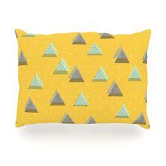 "Strawberringo ""Triangles"" Yellow Geometric Outdoor Throw Pillow"