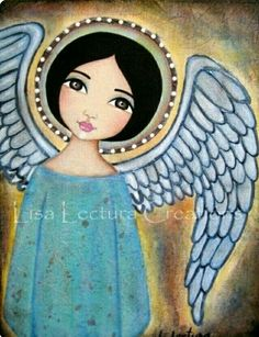 Glow Folk Art Ange by Lisa Lectura Art Fantaisiste, I Believe In Angels, Angeles, Angel Art, Mexican Folk Art, Whimsical Art, Religious Art, Painting Inspiration, Painting & Drawing