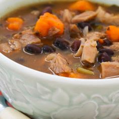 Leftover Turkey and Sweet Potato Soup with Black Beans and Lime