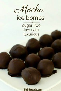 Sugar-free, low-carb mocha ice bombs are seriously luxurious. They are the perfect high fat snack for keto, low carb and fat fast diets. Low Sugar Snacks, Low Carb Sweets, Sugar Free Desserts, Sugar Free Recipes, Low Carb Desserts, Low Carb Recipes, Diabetic Recipes, Easy Recipes, Diabetic Desserts