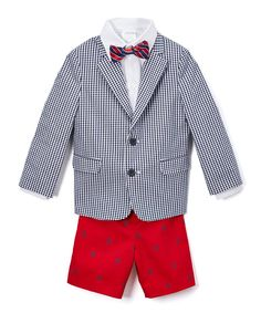 Navy & Red Four-Piece Twill Duo Suit Set - Boys