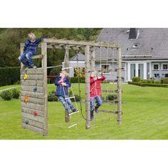 Klettergerüst Holz mit Kletterwand Premium - Gartenpirat Mobil