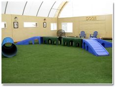 Indoor dog park – someday in my barn – Jessica Vein – pet resort Pet Shop, Indoor Dog Park, Indoor Play Areas, Dog Playground, Dog Yard, Pet Hotel, Pet Boarding, Pet Resort, Dog Rooms
