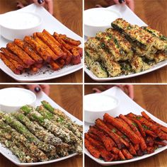 These Veggie Fries Are The Best New Years Resolutions Ever. Here's to being a little healthier in Veggie Fries 4 Ways Servings per recipe: Healthy Food Recipes, Vegetable Recipes, Healthy Snacks, Healthy Eating, Cooking Recipes, Healthy Fries, Sweet Potato Fries Healthy, Diet Recipes, Easy Recipes