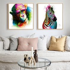 Dog Poster Nordic colorful Animals Print Zerba Tiger Gorilla Canvas Paintings For Living Room Abstract Wall Art Print Canvas Wall Art, Wall Art Prints, Canvas Paintings, Poster Prints, Oil Painting Abstract, Abstract Wall Art, Dog Poster, Nordic Art, Animal Posters