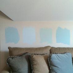 Benjamin Moore interior paint, (L-R): Woodlawn Blue, Glass Slipper, Palladian Blue, and Gossamer Blue