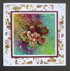 'Floral Fantasy' card - Imagination Craft's -  Mixed Media Inks - Yellow, Fuchsia, Blue & Green.   Daisy flourish border stencil.  Antique gold Starlight paint.  T.H. Distress Inks & Flower dies.  April 2016