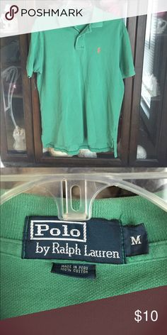 Men's Polo Ralph Lauren Green Sport Shirt This item is in good shape. Armpit to armpit is 23. Armpit to sleeve is 4. Back of collar to bottom is 31. Polo by Ralph Lauren Shirts Polos