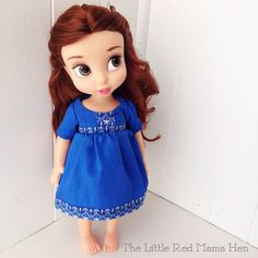 Doll Dress with Short Sleeves in Blue  by TheLittleRedMamaHen