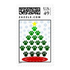 Paw Prints Christmas Tree Postage