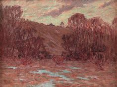 """George Herbert Baker (American, 1878-1943), """"Indiana Landscape"""", c. 1915; oil/canvas, 18"""" x 24"""", signed. Landscape painter from Richmond, Indiana. He was born in Muncie, IN and studied at the Cincinnati Art Academy. He exhibited at the Richmond Art Association, Hoosier Salon, and the Indiana State Fair... - #george #baker #herbert #artist #american #impressionist #impressionism #oil #painting #painter #indiana #hoosier"""