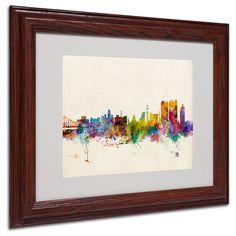 Michael Tompsett 'Calcutta Skyline' Matte, Wood Framed Wall Art