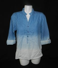 NWT Bandolino Jordan Dip Dye Bleach 3 Button Womens Top Blouse Shirt Size M T2 #Bandolino #Blouse #Casual