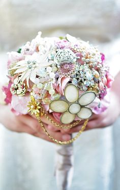 brooch bouquet up close - Wedding Brooch Bouquet Ideas