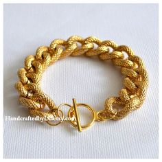 Gold Textured Chunky Chain Bracelet