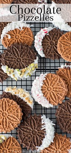 Chocolate Pizzelles - Angie Beaudoin - Chocolate Pizzelles Chocolate Pizzelles dipped in white chocolate with peppermint, walnuts, chocolate chips, coconut and pistachios - Freezable Cookies, Quick Cookies, Sweet Cookies, Easy Cookie Recipes, Yummy Cookies, Dessert Recipes, Mini Desserts, Cookie Ideas, Sugar Cookies
