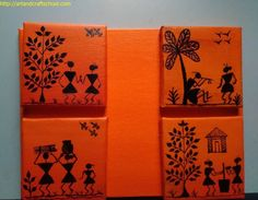 Simple warli paintings on canvas for kids done by me ! Worli Painting, Fabric Painting, Painting Videos, Painting Techniques, Madhubani Art, Madhubani Painting, Art N Craft, Diy Art, Mini Canvas Art