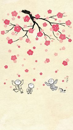 Cute Young Monks Enjoy Sakura! Simple illustration iPhone wallpapers. Tap to see more HD iphone wallpapers, backgrounds, fondos! - @mobile9