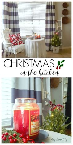 Ideas for decorating a kitchen for Christmas, and new curtains that block heat!