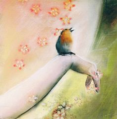 bird card card with envelope greeting hand pink by KatkasArtStudio