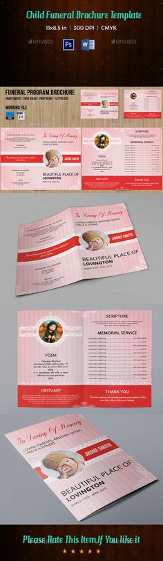Funeral Program Brochure Template V  Brochure Template