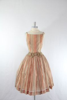 1950s Vintage Dress - Shades of Brown Stripes Sundress - Cotton Full Skirt Dress. $180.00, via Etsy.