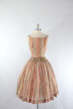 1950s Vintage Dress - Shades of Brown Stripes Sundress - Cotton Full Skirt Dress. $180.00, via Etsy.