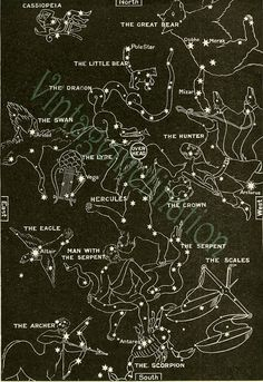 1933 Vintage Star Chart SPRING SUMMER Celestial Maps, Constellations Planets Zodiac