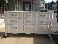 French provincial dresser painted in Navajo white. Drawer pulls glammed up with paint as well. https://www.facebook.com/jodiecurtaincall