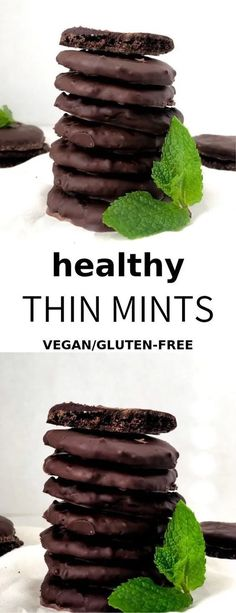 Just like the classic Girl Scout cookies, but made vegan and gluten-free! Just like the classic Girl Scout cookies, but made vegan and gluten-free! Vegan Dessert Recipes, Vegan Sweets, Easy Desserts, Whole Food Recipes, Healthy Desserts, Free Recipes, Healthy Eats, Baking Recipes, Healthy Recipes