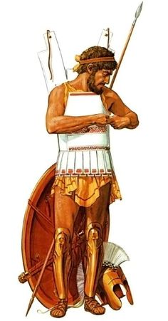 Greek Hoplite putting on his linothorax body armour before battle, c. 500 BC.