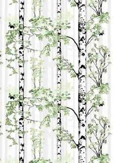 <p>Luontopolku-vahakankaan kuosi on Riina Kuikan suunnittelema. Lähempää ja kauempaa kuvatut koivun rungot muodostavat kuosiin syvyyttä kantaen syvyysvaikutelman mukanaan tilaankin. Raikas ja rauhallinen Luontopolku-vahakangas soveltuu