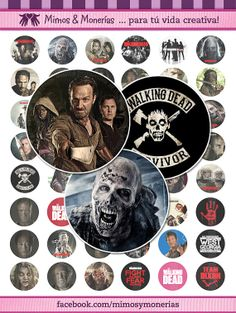 """The Walking Dead 60 - 1"""" Bottle Cap Images - Digital Collage Sheets - Hair Bows, Magnets, Stickers - INSTANT DOWNLOAD"""