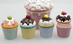 4 Stk MEGA Keramik MUFFIN Cupcake Aufbewahrung Dosen Boxen Geschenkboxen Muffins