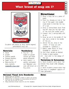 warhol lesson-soup can. Art Sub Plans, Art Lesson Plans, Middle School Art, Art School, School Ideas, Andy Warhol Pop Art, Art Handouts, 4th Grade Art, Art Worksheets