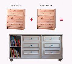 IKEA hack: 2 Rast dressers = custom piece that is drool-worthy.