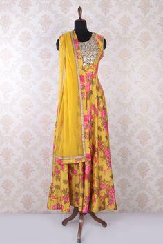 #Yellow multicoloured raw #silk classy sleeveless #anarkali with u neck -SL4435
