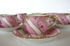 Pink White Swirl and Gold Lustreware Demitasse Set by Vintiqued, $96.00