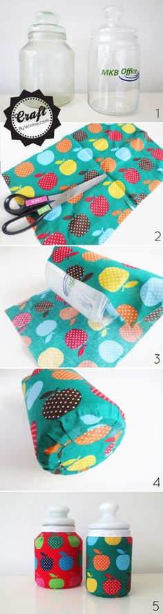 DIY - Fabric covered jars | By Wilma